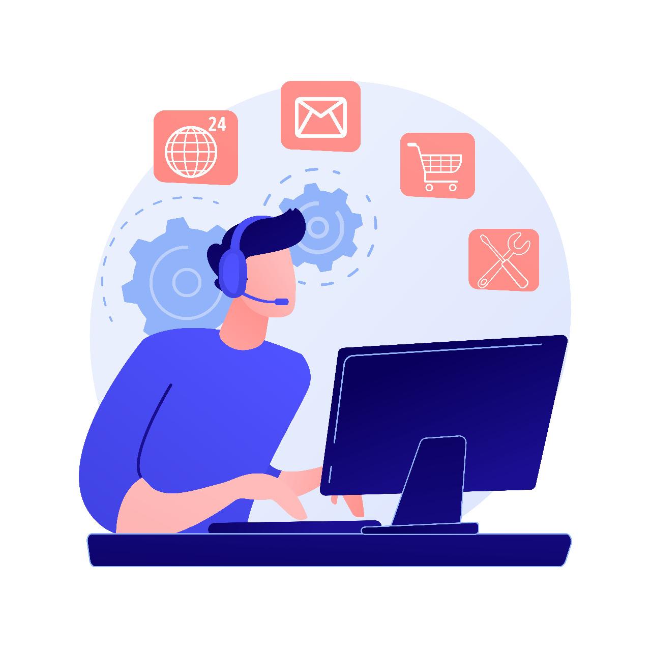 customer-care-executive-vector-illustration